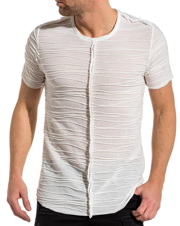 Tee-shirt blanc oversize découpe relief