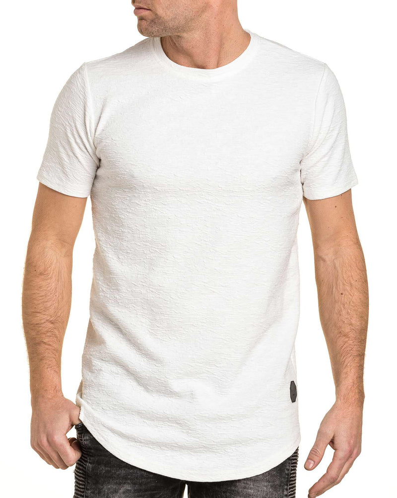 T-shirt homme blanc uni oversize maille relief