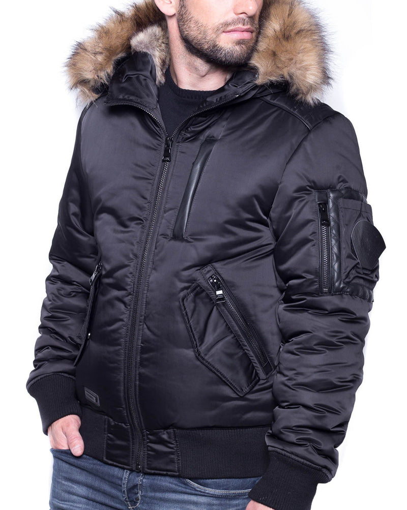 doudoune fashion noir capuche fourrure