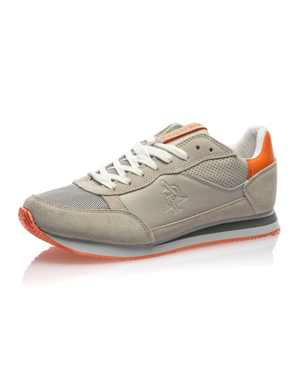 Basket basse homme beige et orange