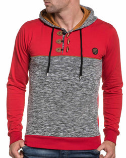 Sweat rouge et gris chiné homme à capuche