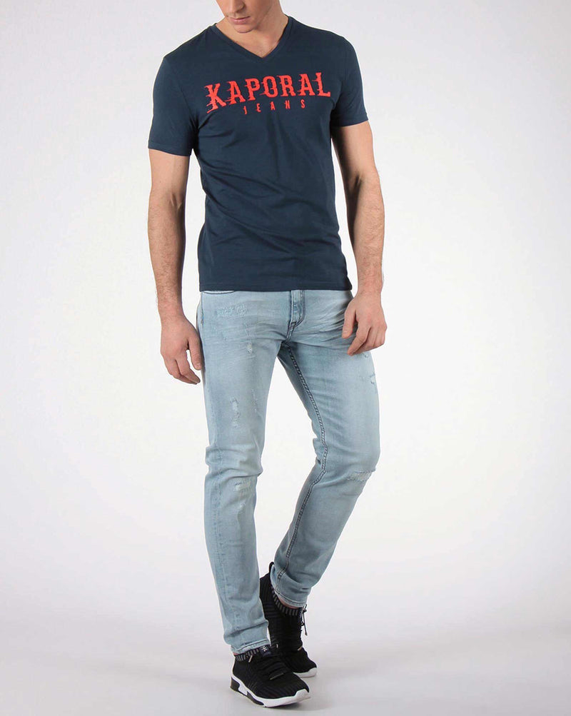 Tee shirt slim bleu us avec inscription PAZIKE