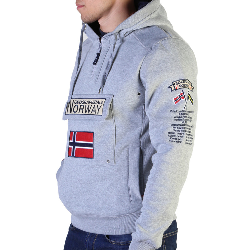 Sweat gris clair à capuche Geographical Norway - Gymclass007_man
