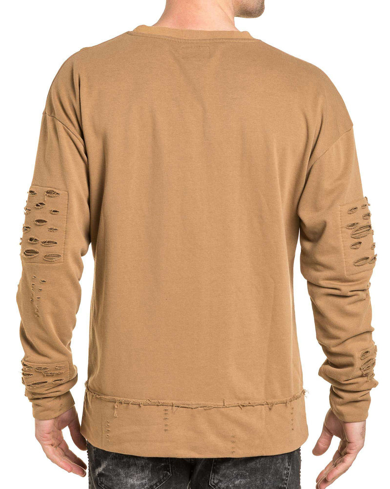 Sweat homme beige oversize destroy coupe large