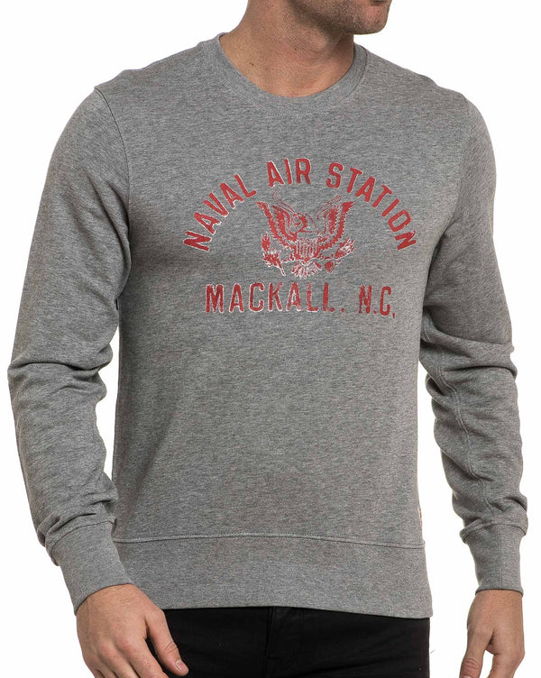 Sweat gris homme vintage col rond