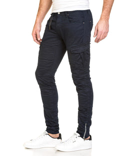 Pantalon cargo fashion nervuré navy avec zip