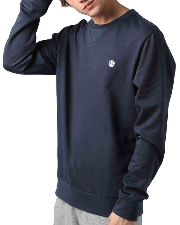 Pull col rond navy CORNELL CLASSIC uni homme