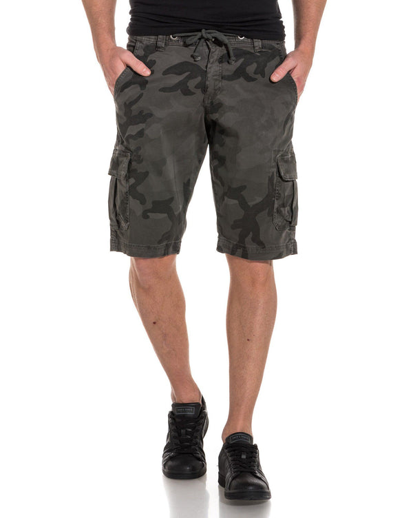 Short cargo gris camouflage stretch