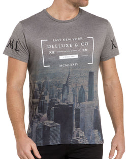 T-shirt gris imprimé city
