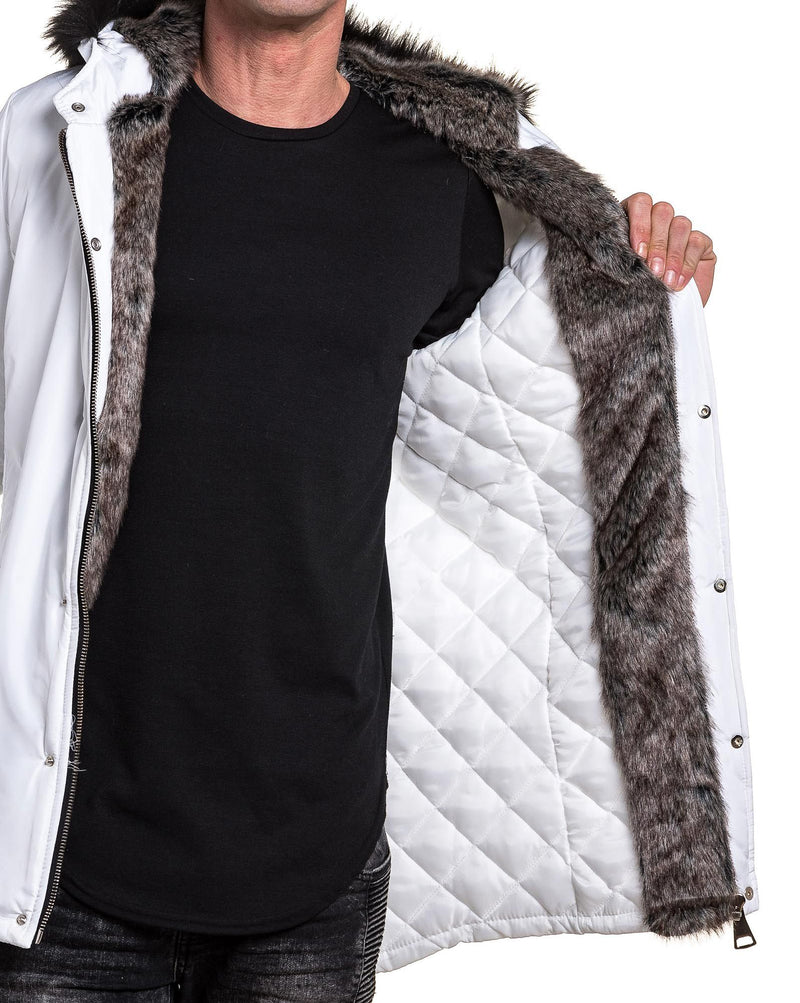 Parka homme long blanc fashion fourrure