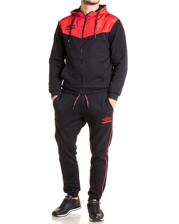 Ensemble de jogging molleton bi color 688180 noir et rouge