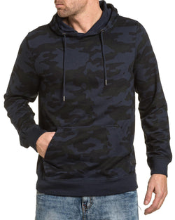 Sweat navy camouflage à capuche homme poche kangourou