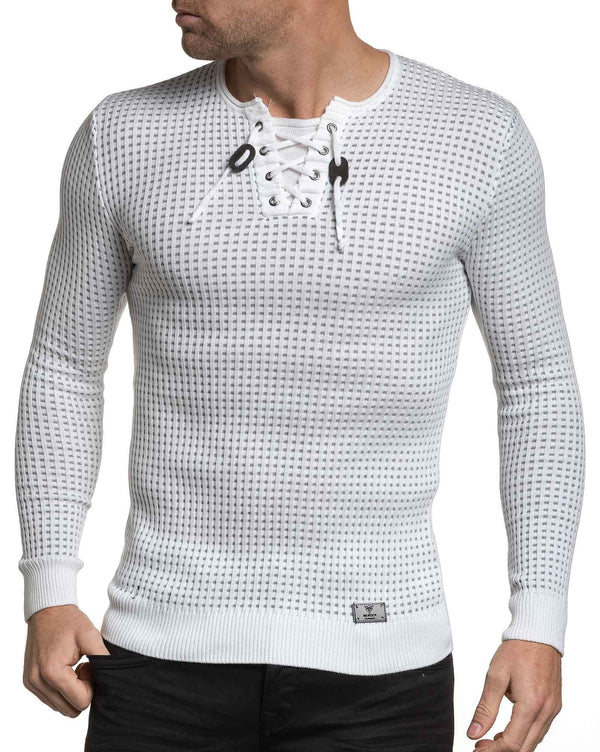Pull homme fine maille blanche moulant col stylé