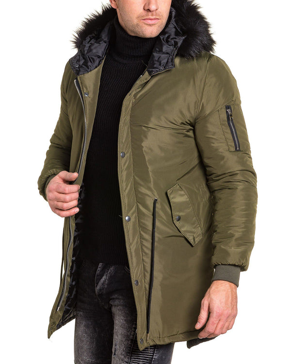 Blouson bomber long kaki fashion
