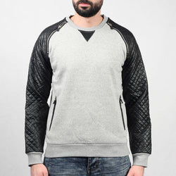 Zip and Quilted Shoulder Crew Sweater