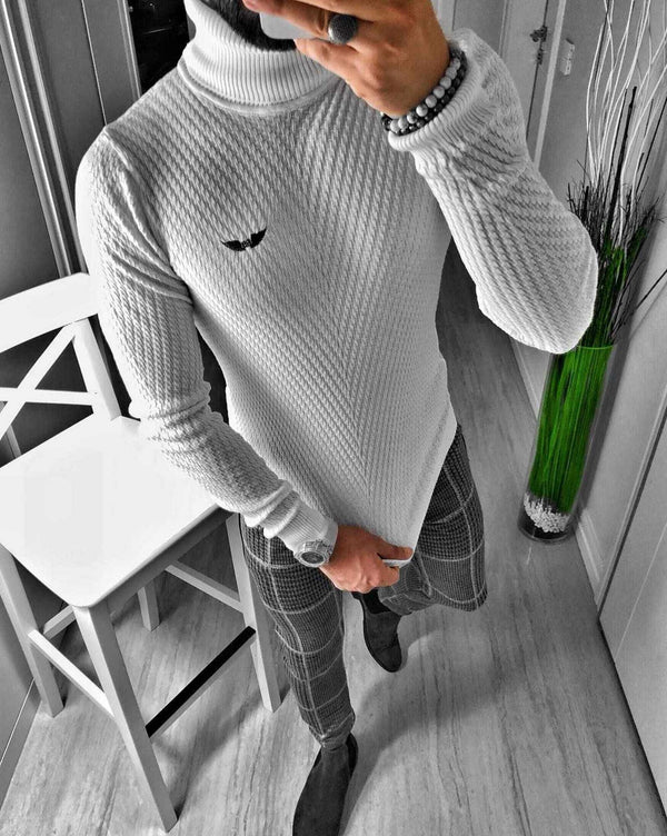 Pullover homme col roulé blanc