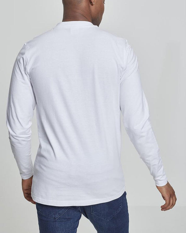 Tee-shirt tendance Homme Col rond 4 boutons blanc uni