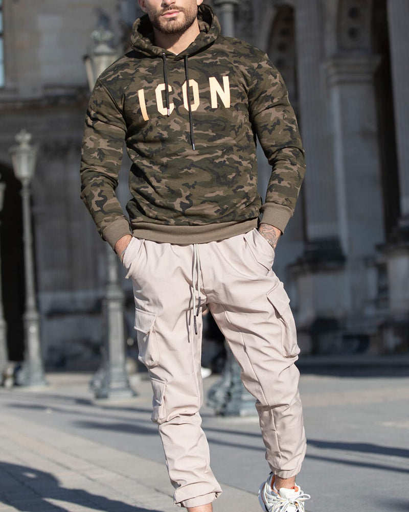Sweat à capuche vert kaki imprimé camouflage all over Icon fluo pour homme