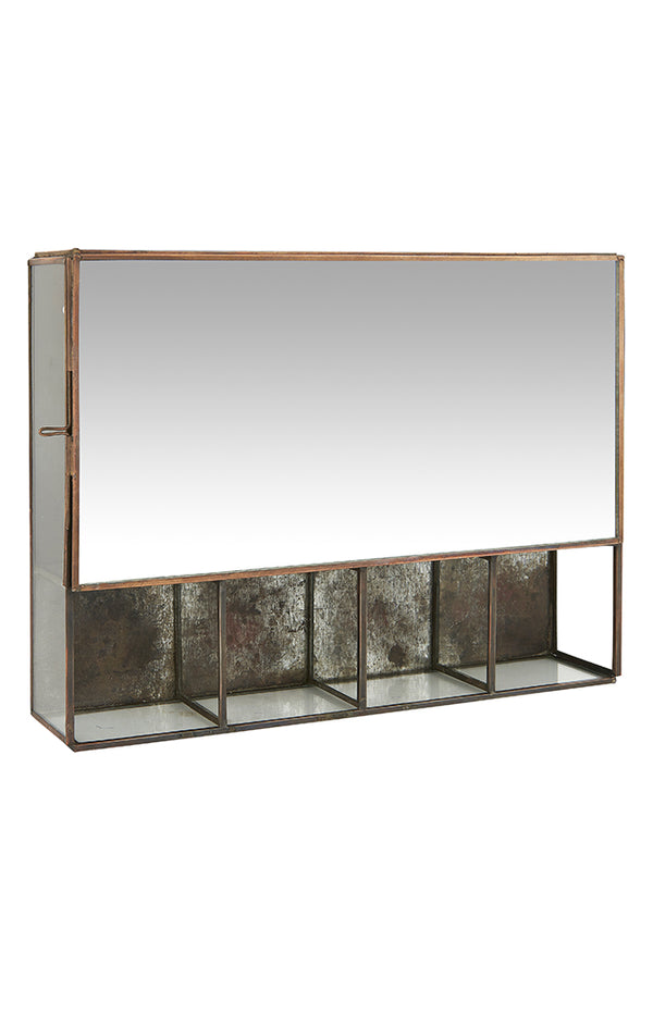 Mirrored Wall Cabinet W/ 5 Rooms - Brass