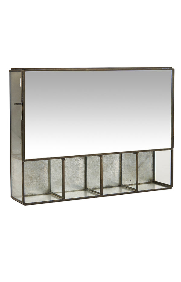 Mirrored Wall Cabinet W/ 5 Rooms - Grey