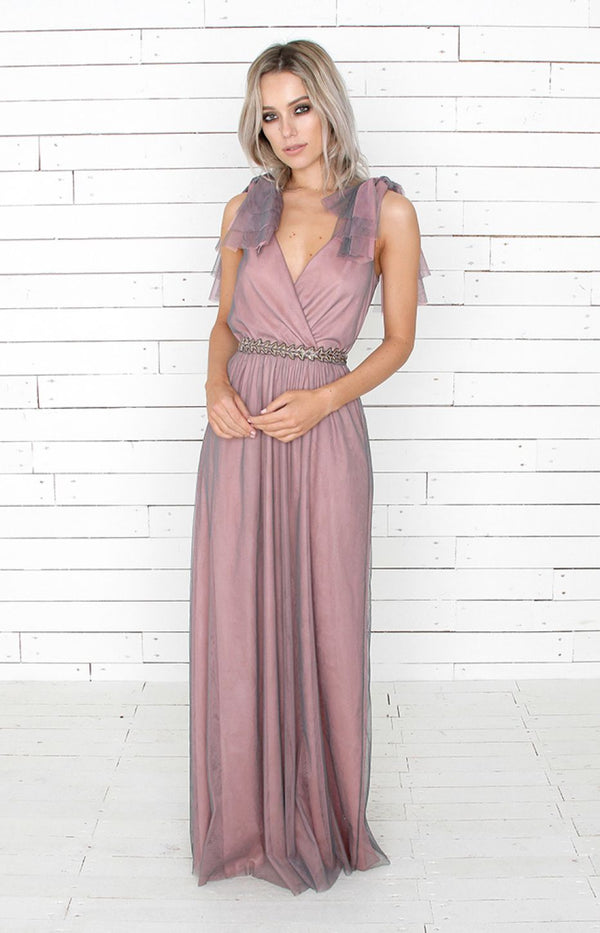 Danya Tulle Gown - Rose/Grey