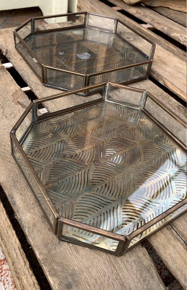 Glass Tray w/ Carved Iron
