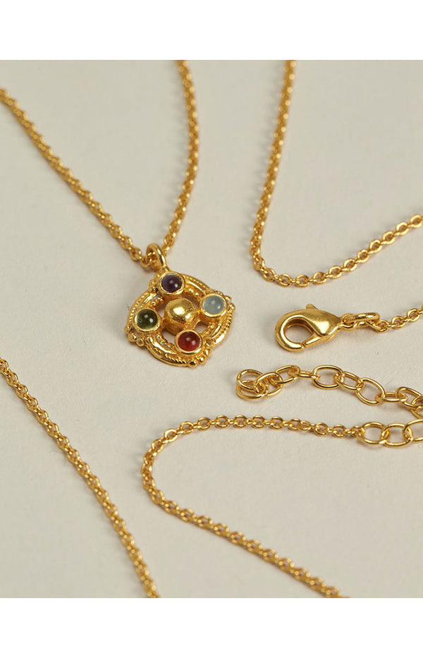 Chain Necklace W/ Stones - Gold Plated