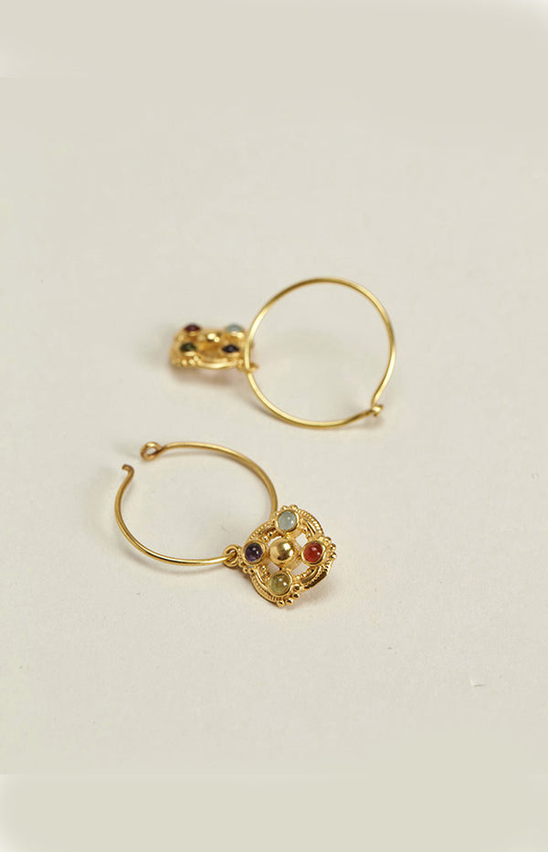 Earrings w/ Stones - Gold Plated