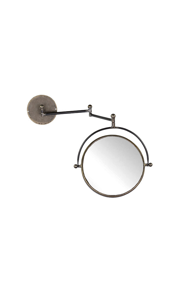 Antique Coal Wall Mirror - Round