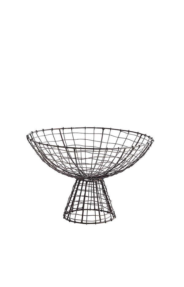Iron Basket w/ Stand - Ant. Brown