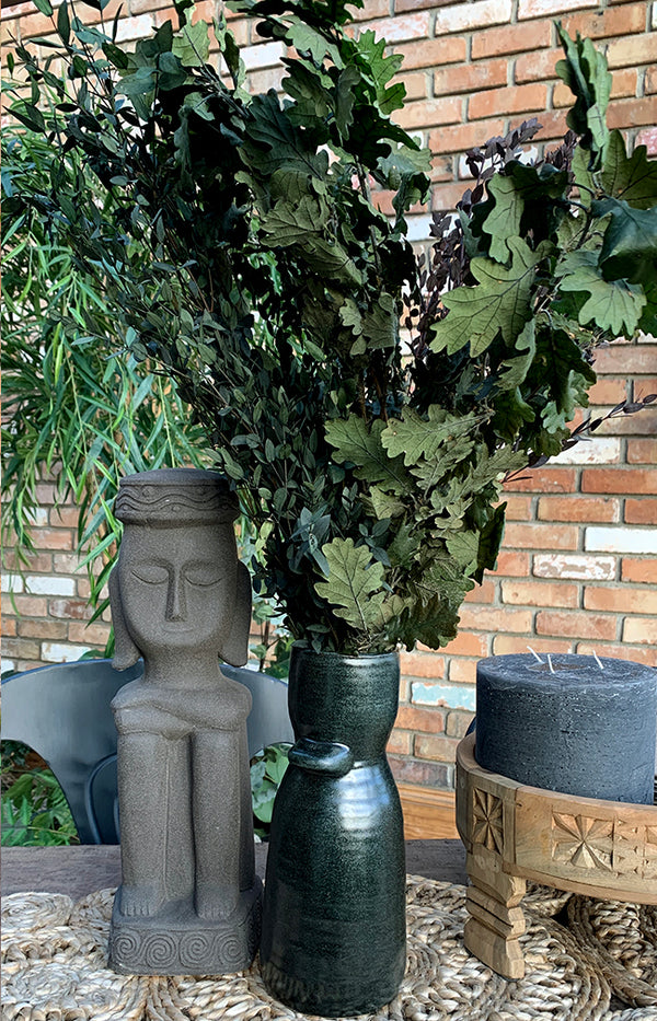 Tall Stoneware Vase - Black