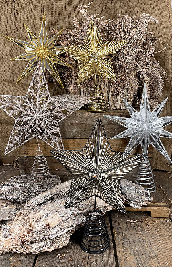 Glass Beaded Star Tree Topper - 26cm - Antique Silver