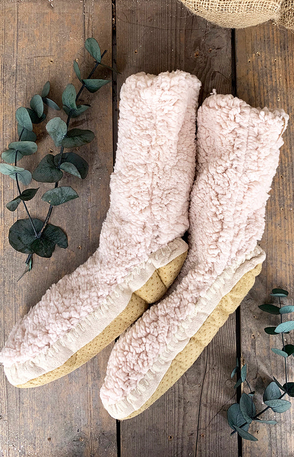 Fluffy Slipper Sock w/ Sole - Cream
