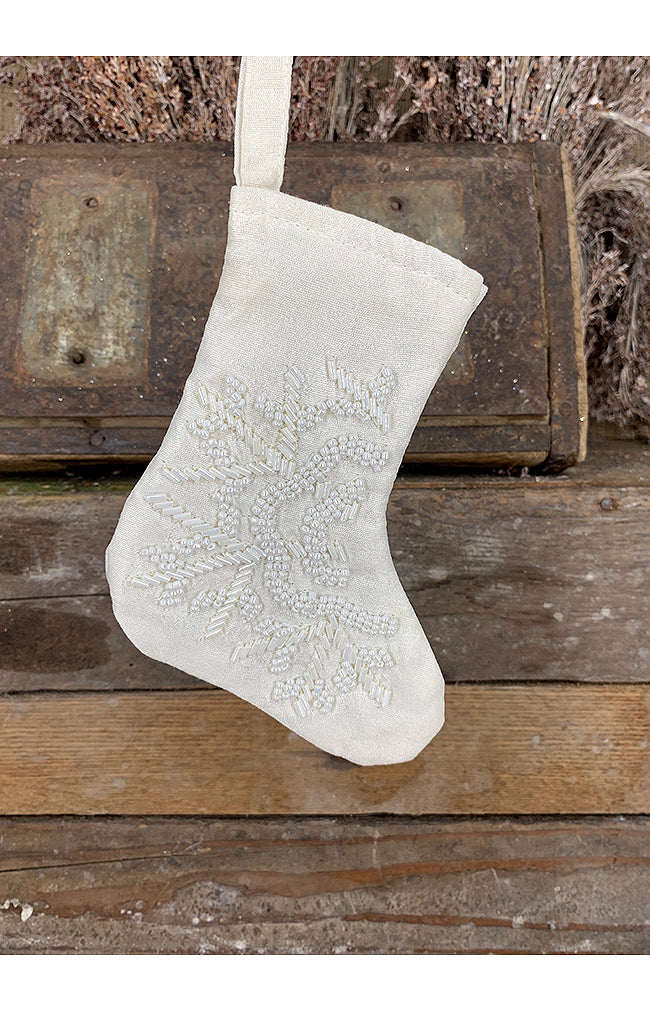 Stocking w/Snowflake - 16cm - Ivory
