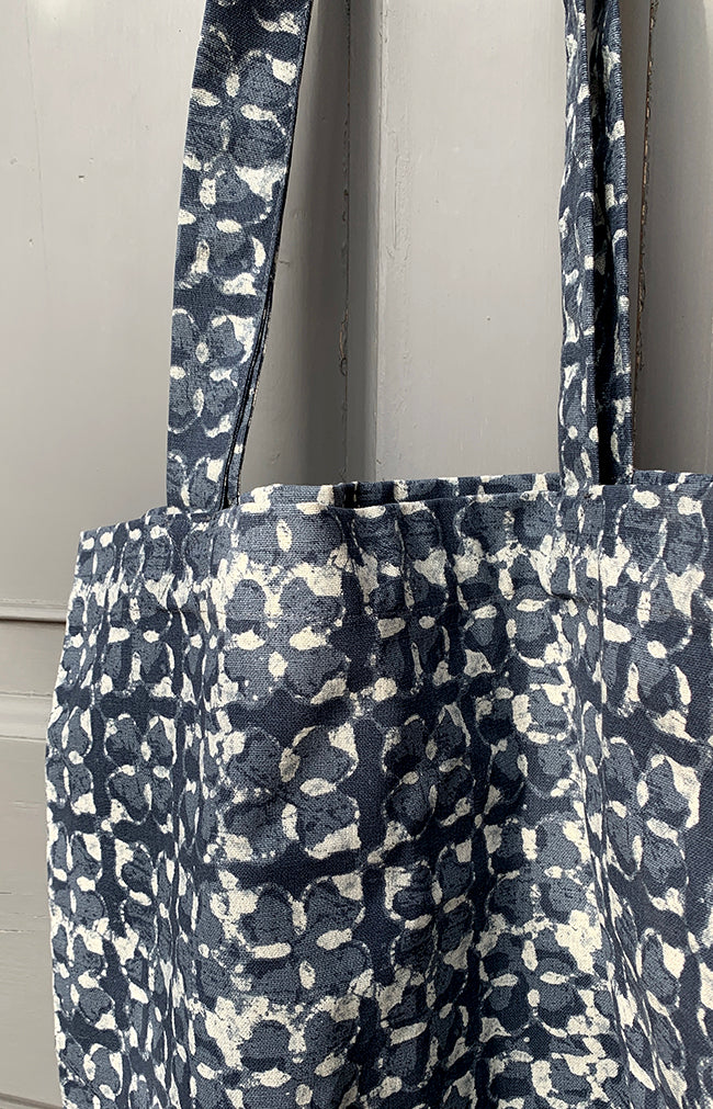 Printed Cotton Tote Bag - Blue