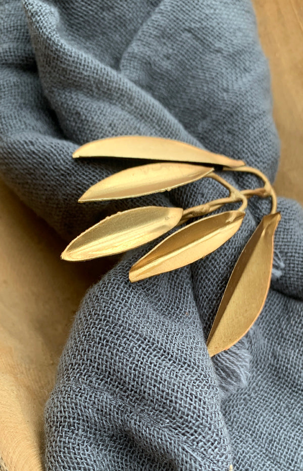 Small Brass Leaves Napkin Ring