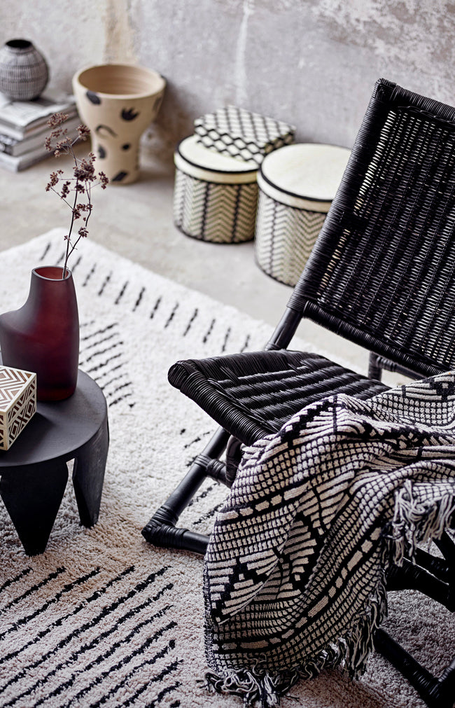 Patterned Recycled Cotton Throw - Black