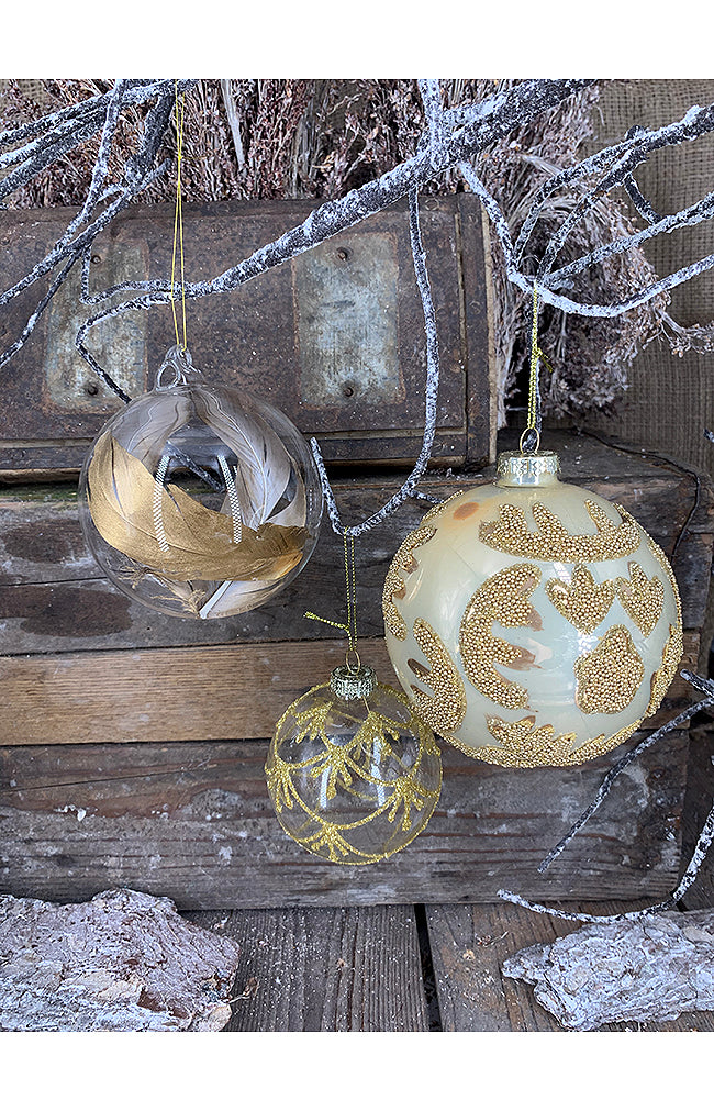 Glass Ball W/ Gold Feather - 10cm