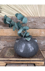Stoneware Vase w/ Knobs - Dark Grey