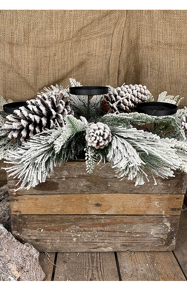 Snowy Pine Candle Stand