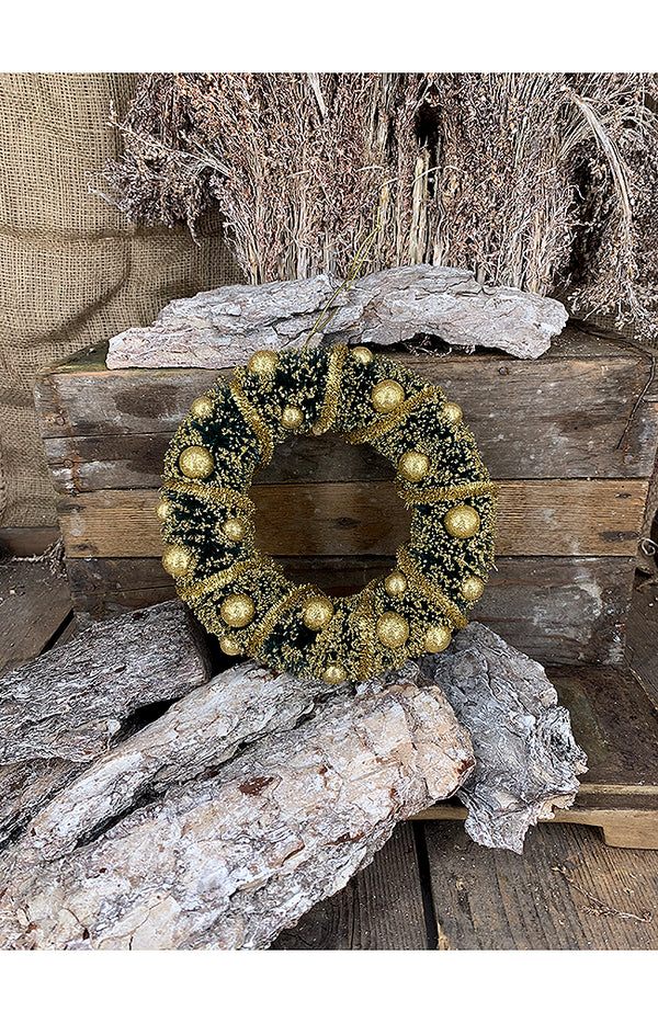 Glitter Wreath w/Tinsel - 22cm - Green/Gold