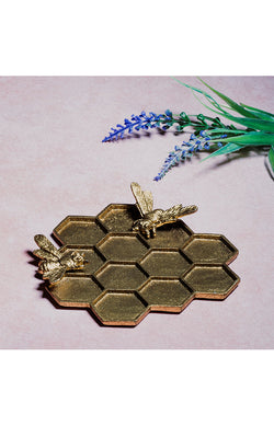 Gold Honeycomb Bee Trinket Dish
