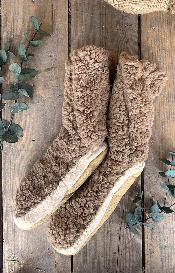 Fluffy Slipper Sock w/ Sole - Coffee