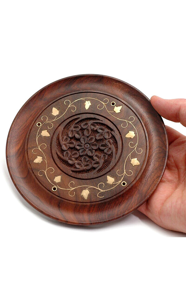 Hand Carved Circular Incense Holder w/ Brass Floral Inlay
