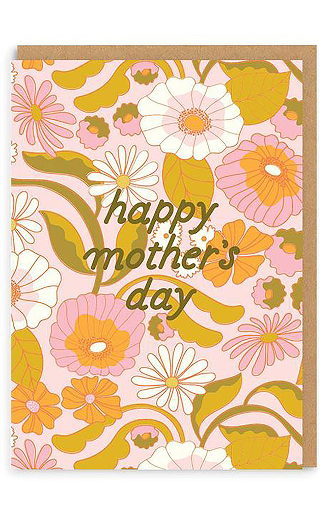 Happy Mother's Day Retro Floral Greeting Card
