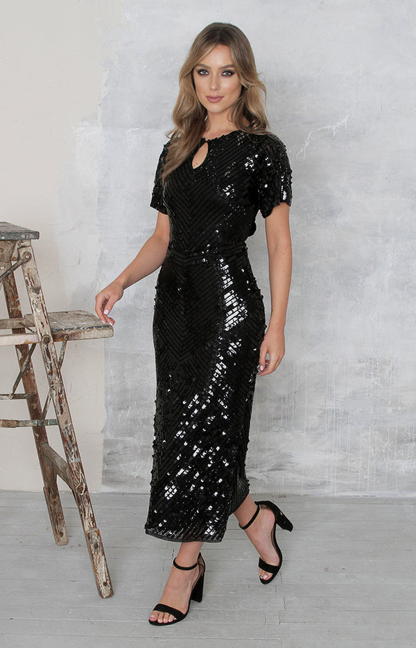 Robyn Dress (Hand Beaded) - Black