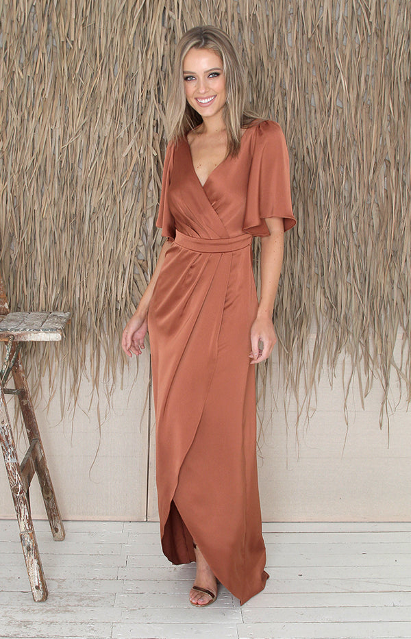 Renata Low Back Gown - Rust