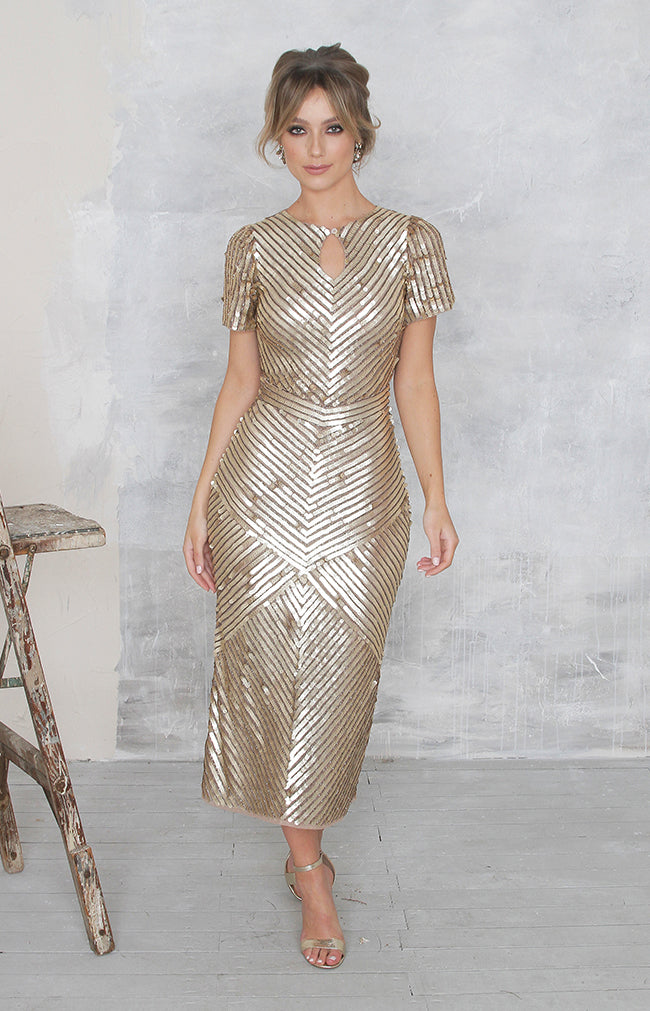 Robyn Dress - (Hand Beaded) Gold