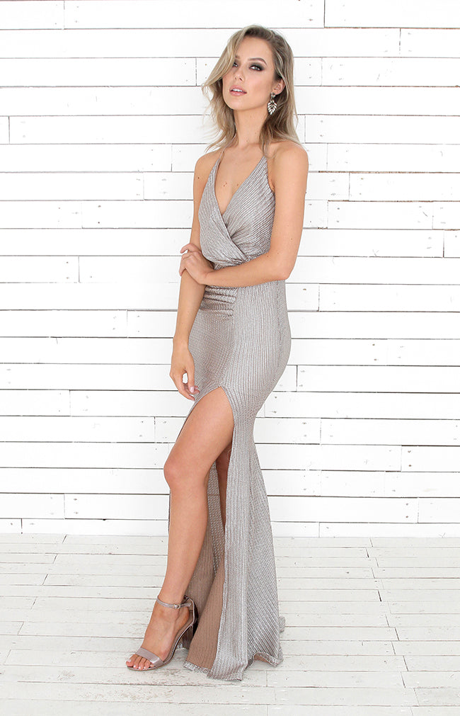 Alina Gown - Mocha/Silver