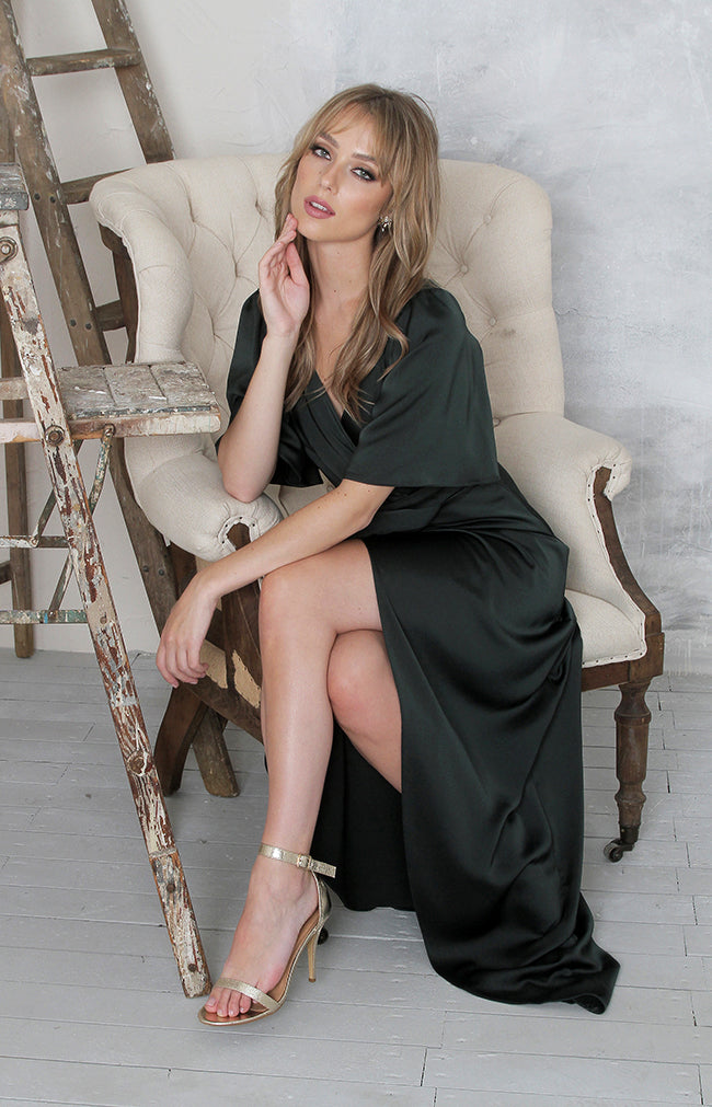 Renata High Back Gown - Forest Green